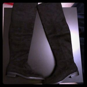 New Zara Faux Suede Over the Knee Black Boots sz 6